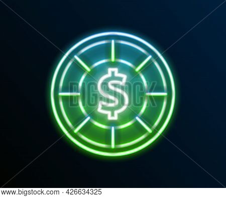 Glowing Neon Line Casino Chips Icon Isolated On Black Background. Casino Gambling. Colorful Outline