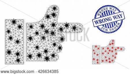 Mesh Polygonal Index Finger Icons Illustration In Outbreak Style, And Grunge Blue Round Wrong Way Se