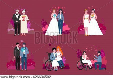 Unconventional Wedding Set. Editable Iilustration In Flat Style