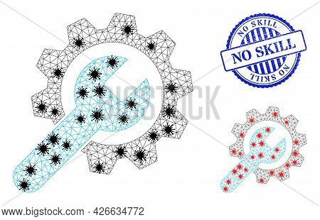 Mesh Polygonal Repair Service Icons Illustration With Infection Style, And Grunge Blue Round No Skil