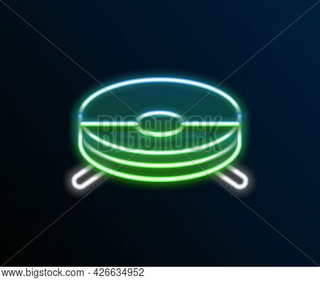 Glowing Neon Line Robot Vacuum Cleaner Icon Isolated On Black Background. Home Smart Appliance For A