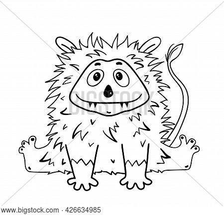 Funny Cute Alien Monster Sitting, Fluffy And Hairy Monochrome Character For Kids Activity Book. Imag