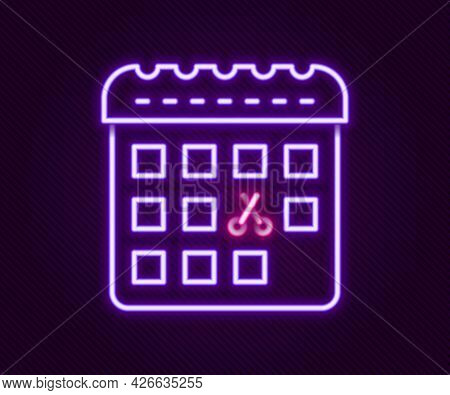 Glowing Neon Line Calendar With Haircut Day Icon Isolated On Black Background. Haircut Appointment C