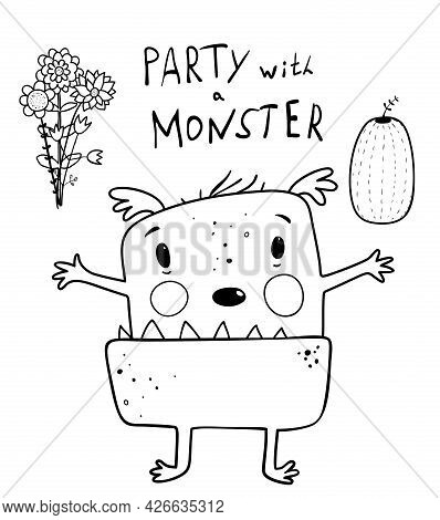 Funny Cute Alien Monster Presenting A Party For Children, Character For Kids Activity Book. Imaginar