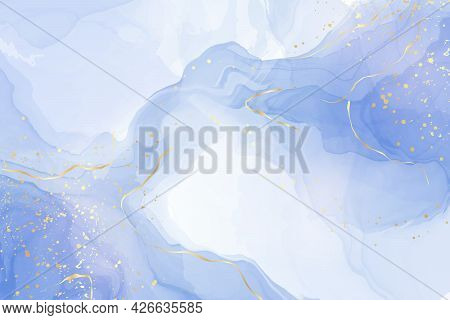 Turquoise And Teal Blue Liquid Watercolor Background With Golden Glitter Lines. Pastel Cyan Marble A