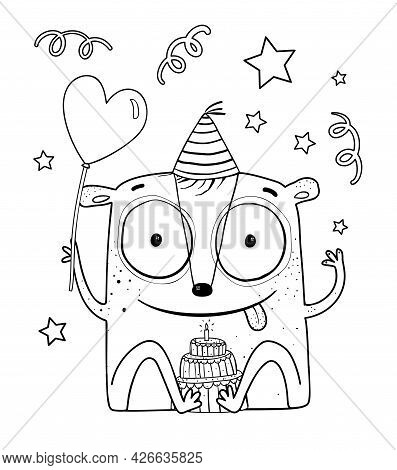 Funny Cute Monster Birthday Party Celebration, Adorable Monochrome Imaginary Festive Creature Charac