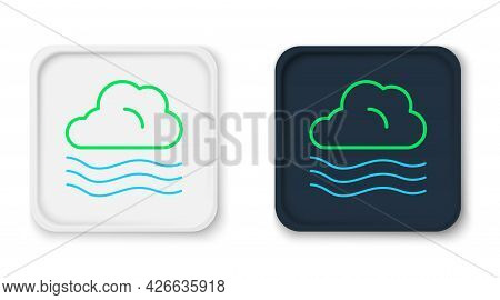 Line Windy Weather Icon Isolated On White Background. Cloud And Wind. Colorful Outline Concept. Vect
