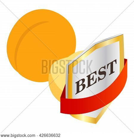 Apricot Icon Isometric Vector. Fresh Sweet Yellow Ripe Juicy Apricot. Quality Mark, Best Sign