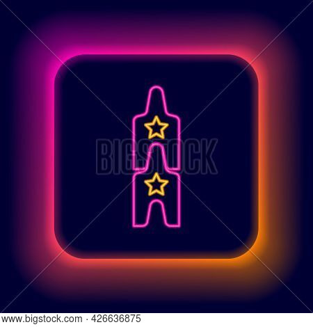 Glowing Neon Line Boat Swing Icon Isolated On Black Background. Childrens Entertainment Playground.