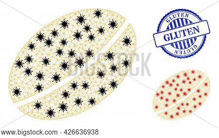 Mesh Polygonal Wheet Seed Symbols Illustration With Lockdown Style, And Distress Blue Round Gluten S