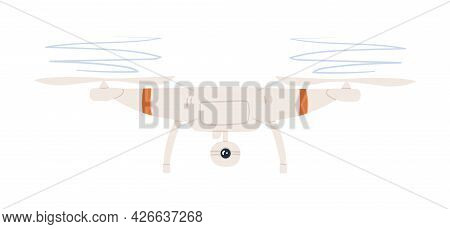 Drone With Camera And Rotating Propellers. Military Uav Flying In Air. Unmanned Aerial Vehicle. Colo
