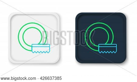 Line Washing Dishes Icon Isolated On White Background. Cleaning Dishes Icon. Dishwasher Sign. Clean