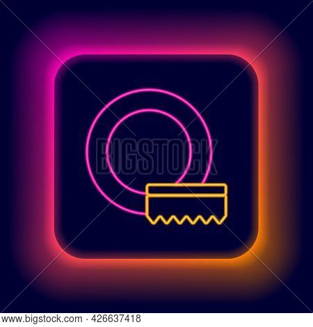 Glowing Neon Line Washing Dishes Icon Isolated On Black Background. Cleaning Dishes Icon. Dishwasher