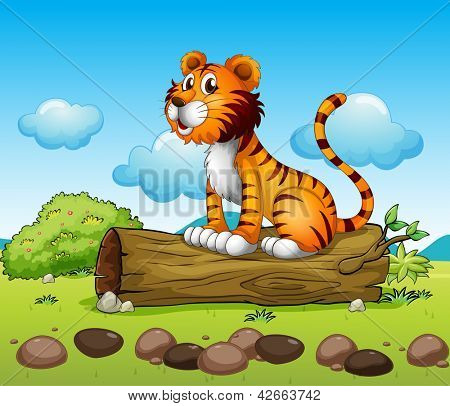 Illustration of a tiger relaxing above a trunk poster