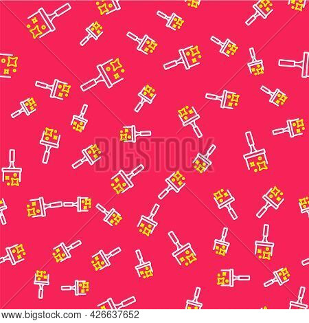 Line Cleaning Service With Of Rubber Cleaner For Windows Icon Isolated Seamless Pattern On Red Backg