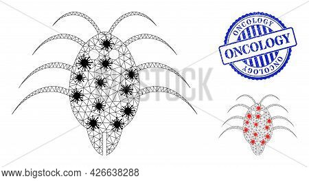 Mesh Polygonal Parasite Icons Illustration In Infection Style, And Rubber Blue Round Oncology Stamp
