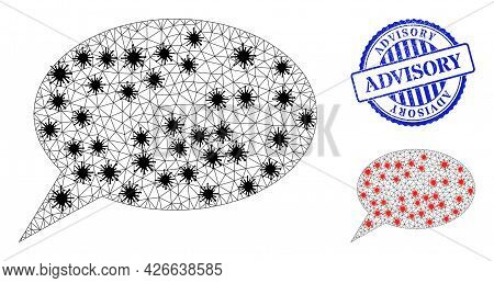 Mesh Polygonal Forum Message Icons Illustration With Lockdown Style, And Distress Blue Round Advisor