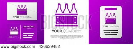 Logotype Bottles Of Wine In A Wooden Box Icon Isolated On White Background. Wine Bottles In A Wooden