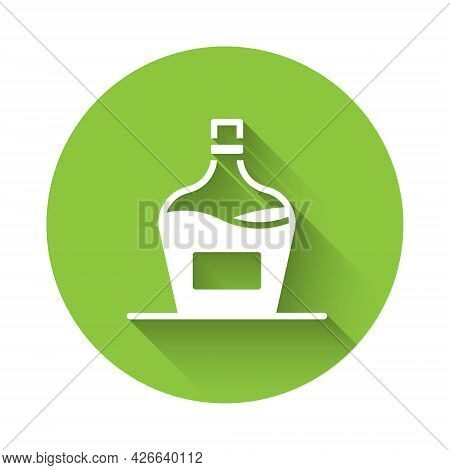 White Old Bottle Of Wine Icon Isolated With Long Shadow Background. Bottle Of Homemade Wine. Green C