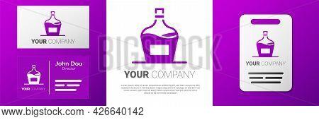 Logotype Old Bottle Of Wine Icon Isolated On White Background. Bottle Of Homemade Wine. Logo Design