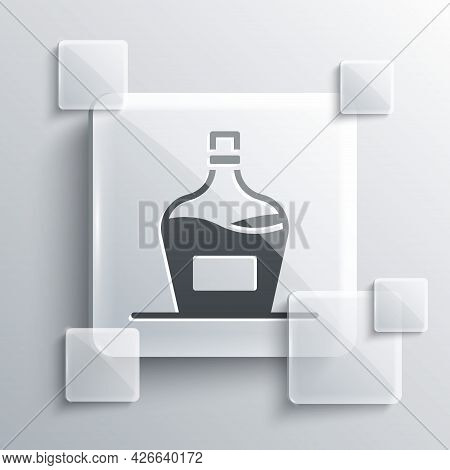 Grey Old Bottle Of Wine Icon Isolated On Grey Background. Bottle Of Homemade Wine. Square Glass Pane