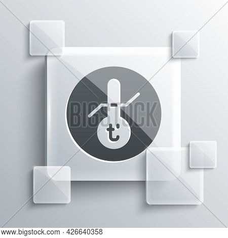 Grey Meteorology Thermometer Measuring Icon Isolated On Grey Background. Thermometer Equipment Showi
