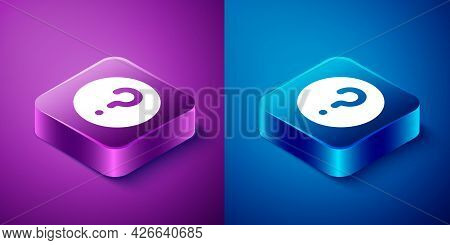 Isometric Unknown Search Icon Isolated On Blue And Purple Background. Magnifying Glass And Question