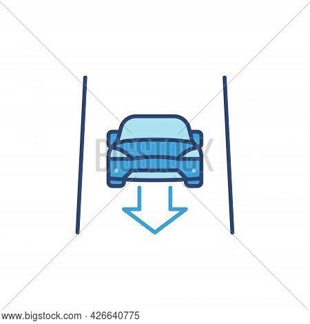 Driverless Car With Arrow On The Street Vector Blue Icon
