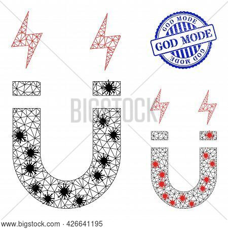 Mesh Polygonal Horseshoe Magnet Icons Illustration In Lockdown Style, And Distress Blue Round God Mo