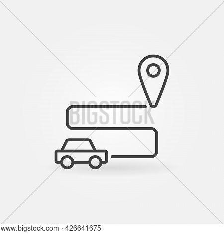 Self-driving Car Vector Concept Line Icon Or Symbol