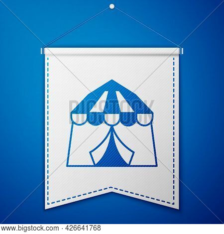 Blue Circus Tent Icon Isolated On Blue Background. Carnival Camping Tent. Amusement Park. White Penn