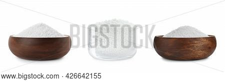 Set With Ammonium Nitrate Pellets On White Background, Banner Design. Mineral Fertilizer