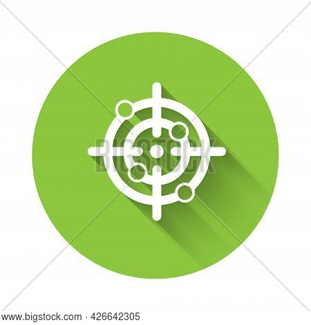 White Target Sport Icon Isolated With Long Shadow Background. Clean Target With Numbers For Shooting