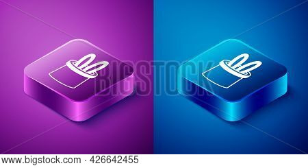 Isometric Magician Hat And Rabbit Ears Icon Isolated On Blue And Purple Background. Magic Trick. Mys