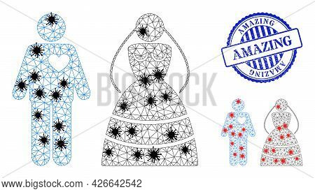 Mesh Polygonal Marriage Persons Symbols Illustration In Outbreak Style, And Grunge Blue Round Amazin