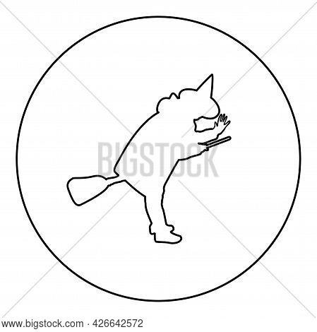 Fairy Wizard Witch Flying On Broom Subject For Halloween Concept Silhouette In Circle Round Black Co