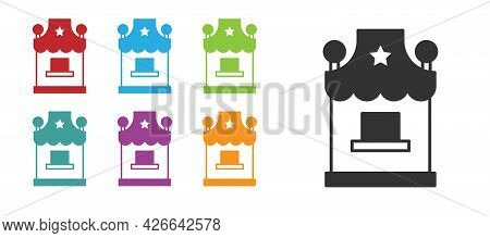Black Ticket Box Office Icon Isolated On White Background. Ticket Booth For The Sale Of Tickets For