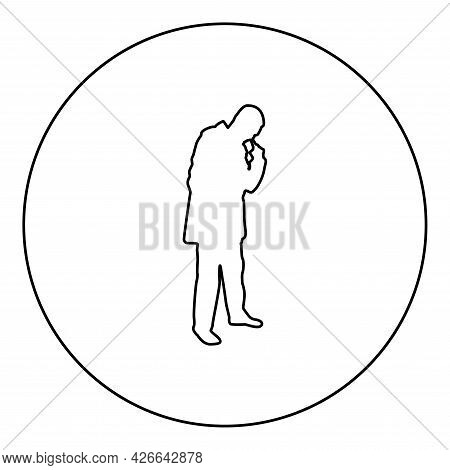 Man Poking In Nose Use Finger Male Cleans Nasal Passages Silhouette In Circle Round Black Color Vect