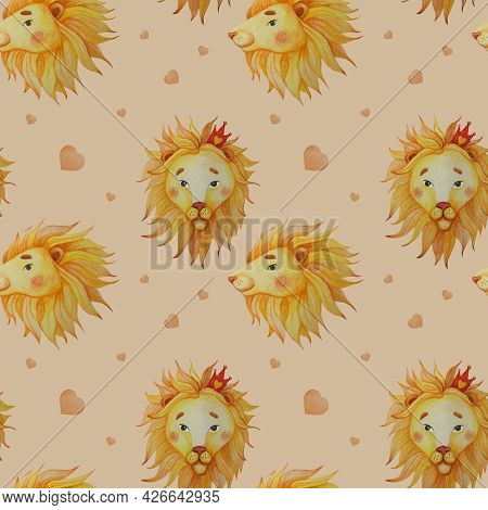 Seamless Pattern. Cute Lions With Mane On A Beige Background With Hearts. Watercolor. Hand Drawing F