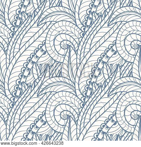 Black And White Seamless Pattern With Paisley Print In A Retro Style. Vector Illustration