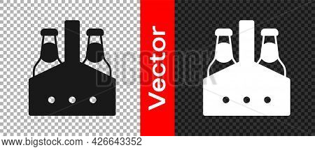 Black Pack Of Beer Bottles Icon Isolated On Transparent Background. Case Crate Beer Box Sign. Vector