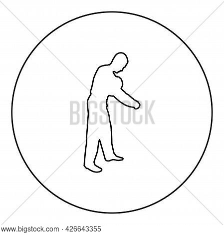 Man Dressing Sweater Clothes Concept Put On His Pullover Silhouette In Circle Round Black Color Vect