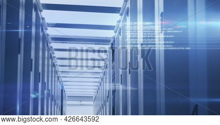 Image of data processing and digital information over network of computer servers with glowing lights. global network of internet service provider, data processing centre concept.
