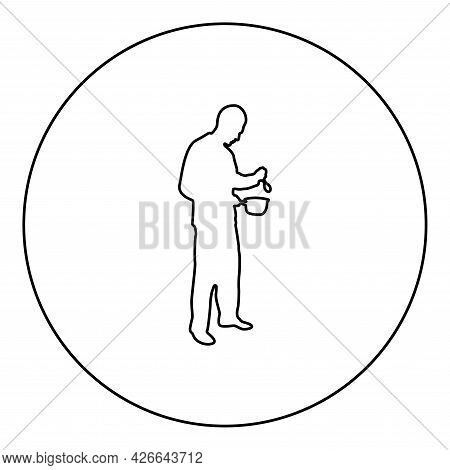 Man With Saucepan Spoon In His Hands Preparing Food Male Cooking Use Sauciers Silhouette In Circle R