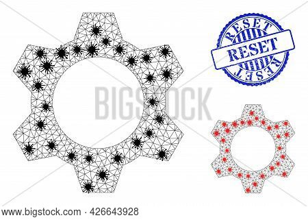 Mesh Polygonal Cog Icons Illustration With Infection Style, And Rubber Blue Round Reset Seal. Model