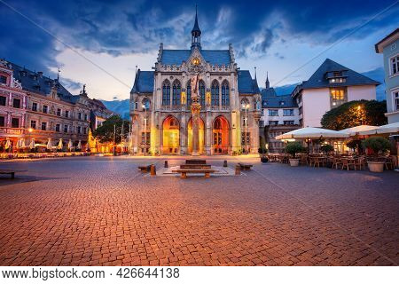 Erfurt, Germany. Cityscape Image Of Old Town Erfurt, Thuringia, Germany With The Neo-gothic Town Hal