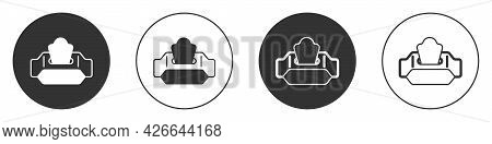 Black Wet Wipe Pack Icon Isolated On White Background. Circle Button. Vector