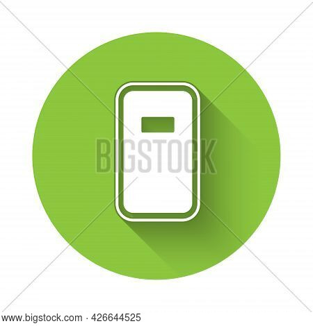 White Police Assault Shield Icon Isolated With Long Shadow Background. Green Circle Button. Vector