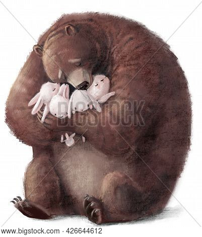 Big Brown Bear With Four Little Hares