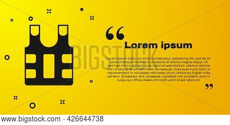 Black Bulletproof Vest For Protection From Bullets Icon Isolated On Yellow Background. Body Armor Si